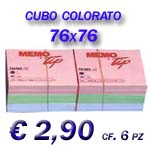 CUBO POST-IT COLORATO F.TO 76X76 CF. 6 PZ.